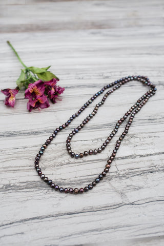 Smokey Long Pearl Necklace
