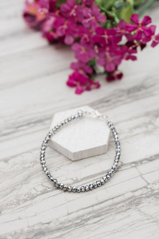 Silver Faceted Crystal Bracelet