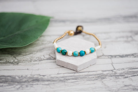 Turquoise Howlite Stack Bracelet for Women - Jewelry - WAR Chest Boutique