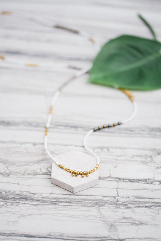 White & Gold Stacking Necklace