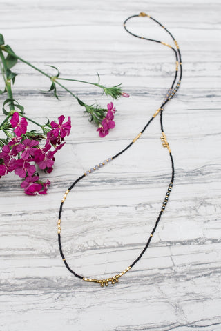 Black & Gold Stacking Necklace