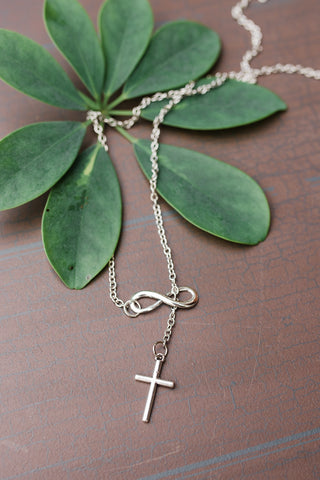 Infinity Cross Lariat Necklace for Men and Women - Jewelry - WAR Chest Boutique