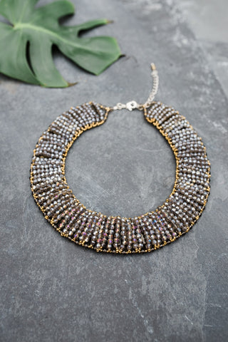 Grey and Gold Collar Necklace for Women - Jewelry - WAR Chest Boutique