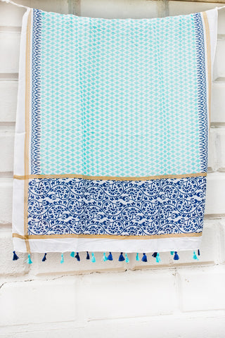 Navy and Teal Diamond Pattern Scarf