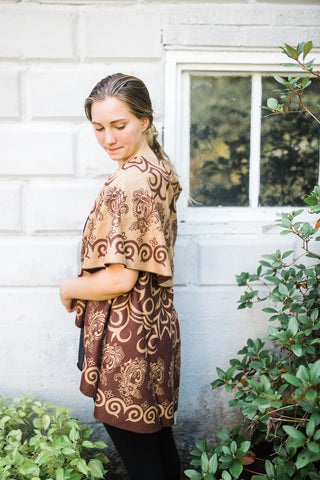 Brown Print Shawl for Women - Clothing - WAR Chest Boutique