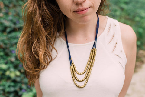 Navy Rings of Gold Necklace