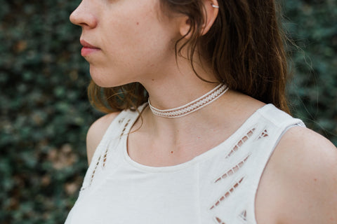 Cream Ribbon Choker