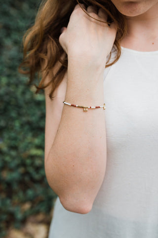 Rust and Gold Droplet Bracelet