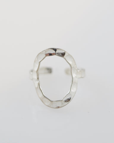 Hammered Oval Ring in Silver for Women - Jewelry - WAR Chest Boutique