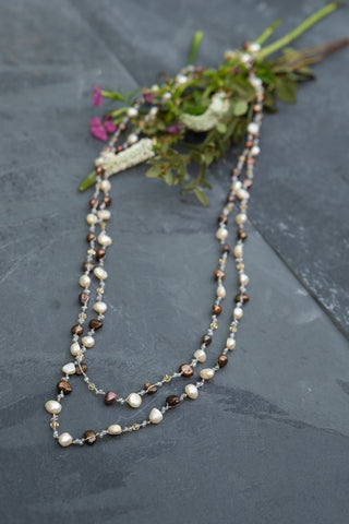Brown & White Pearl Necklace