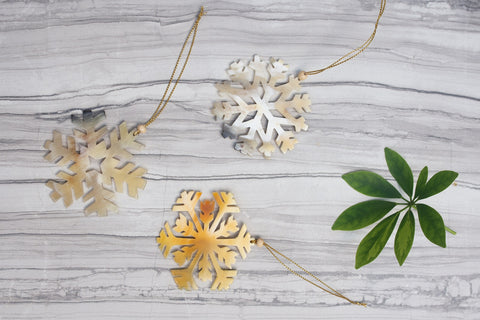 Cow Horn Snowflake Ornaments - WAR Chest Boutique