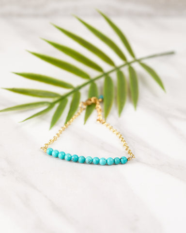 Turquoise and Gold Station Bracelet for Women - Jewelry - WAR Chest Boutique