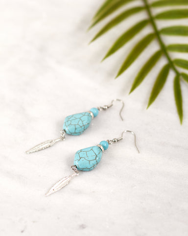 Turquoise & Feather Earrings for Women - Jewelry - WAR Chest Boutique
