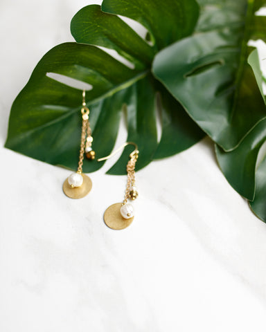 Gold Line Drop Cluster Earring
