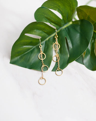 Gold Triple Ring Earrings