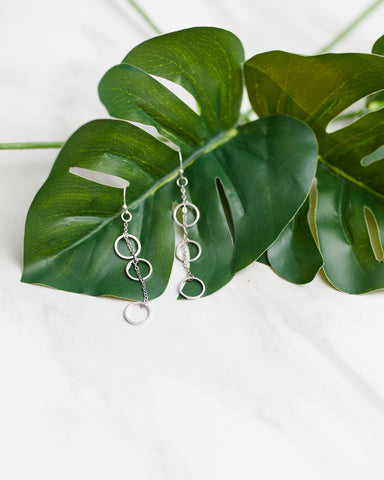 Silver Triple Ring Earrings for Women - Jewelry - WAR Chest Boutique