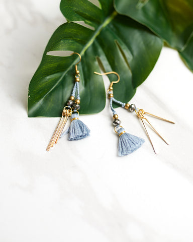 Dusty Blue Bar and Tassel Earrings for Women - Jewelry - WAR Chest Boutique