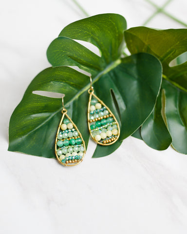 Green Beaded Teardrop Earrings for Women - WAR Chest Boutique
