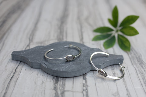 Faceted Teardrop Hoop Earring for Women - WAR Chest Boutique