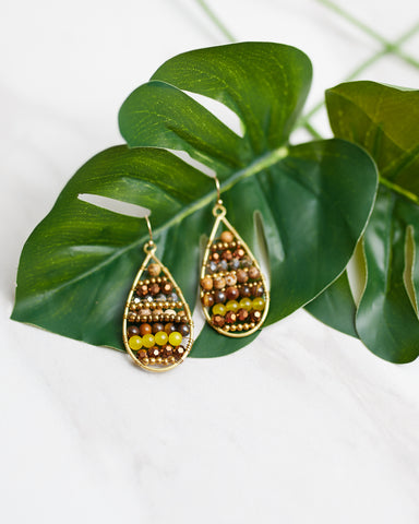 Amber Beaded Teardrop Earrings for Women - Jewelry - WAR Chest Boutique