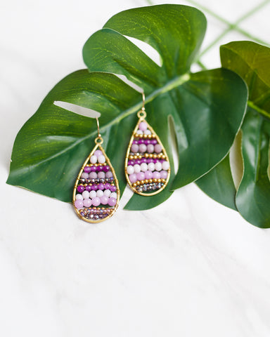 Lavender Beaded Teardrop Earrings for Women - WAR Chest Boutique