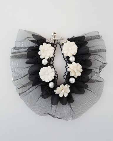 Black Madonna Lace Pet Collar for Cats and Dogs - WAR Chest Boutique