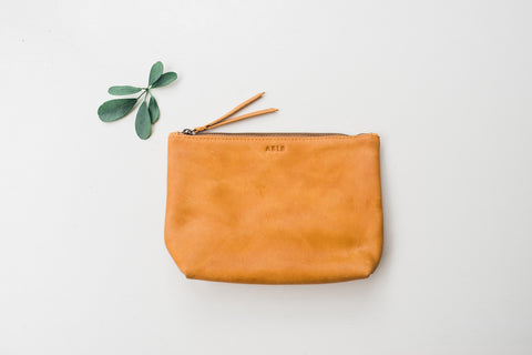 Cognac Emnet Zippered Pouch - Handbags - WAR Chest Boutique