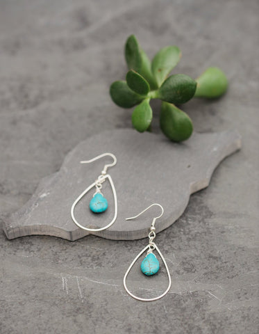 Teardrop Turquoise Bead Earrings for Women - Jewelry - WAR Chest Boutique