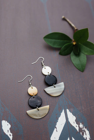 Tri-Color Geo Horn Earrings for Women - Jewelry - WAR Chest Boutique