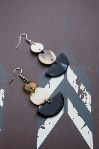 Beige Geo Horn Earrings for Women - Jewelry - WAR Chest Boutique