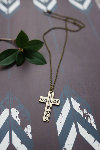 Double-sided Brass Cross Necklace for Men and Women - Jewelry - WAR Chest Boutique