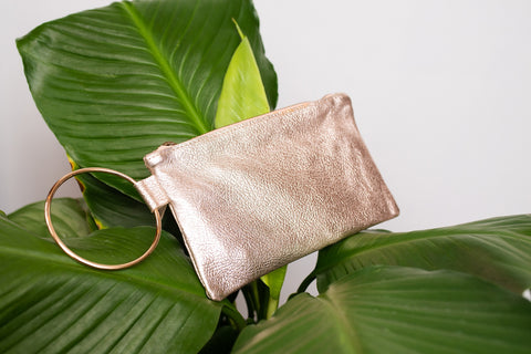 ABLE Rose Metallic Fozi Wristlet