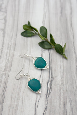 Teal Wrapped Sea Glass Earrings for Women - Jewelry - WAR Chest Boutique