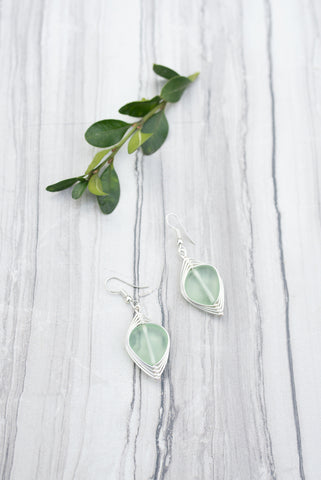 Ice Wrapped Sea Glass Earrings for Women - Jewelry - WAR Chest Boutique