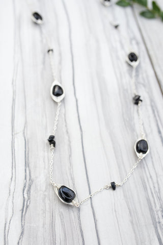 Black Stacked Station Necklace for Women - Jewelry - WAR Chest Boutique