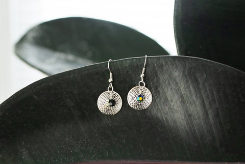 Silver Drop and Swarovski Earring - Jewelry - WAR Chest Boutique