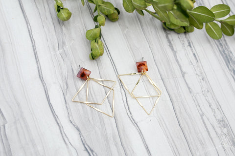 Tortoise Shell Prism Earrings for Women - Jewelry - WAR Chest Boutique