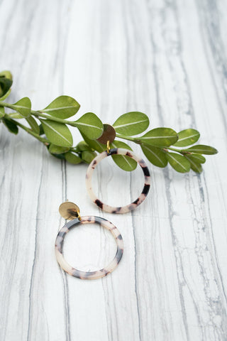 Blush Tortoise Hoop Earrings-Jewelry-WAR Chest Boutique