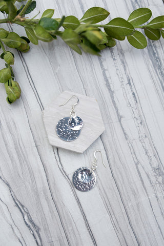 Silver Hammered Coin Earring for Women - Jewelry - WAR Chest Boutique