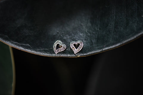 Marcasite Heart Earrings for Women - Jewelry - WAR Chest Boutique