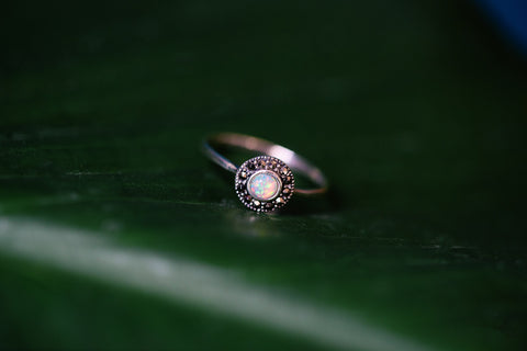 White Opal Marcasite Ring