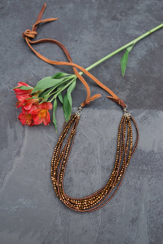 Brown Crystal Leather Necklace