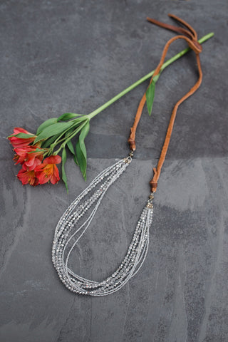 Silver Crystal Leather Necklace