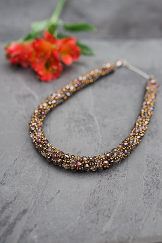 Smoky Crystal Collar Necklace