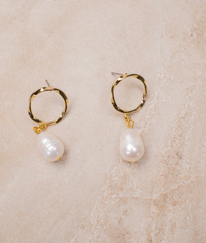 Pearl & Gold Tone Earrings