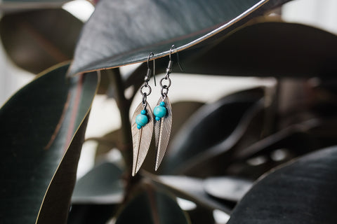 Gunmetal Feather Earrings for Women - Jewelry - WAR Chest Boutique