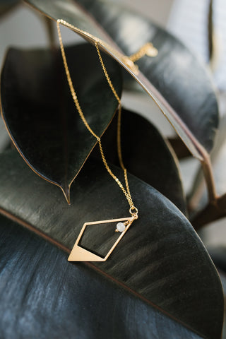 Rhombus Brass Necklace for Women - Jewelry - WAR Chest Boutique