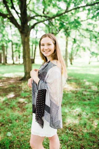Tan and Black Block Scarf for Women - Accessories - WAR Chest Boutique