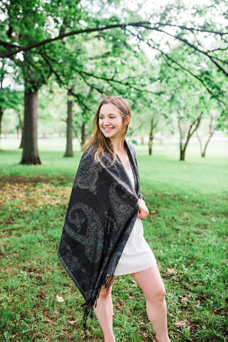 Black & Gray Paisley Pashmina for Women - Accessories - WAR Chest Boutique