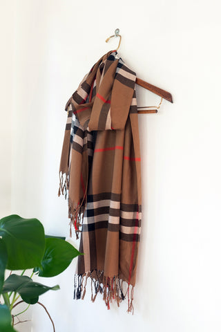 Brown/Black Checkered Pashmina